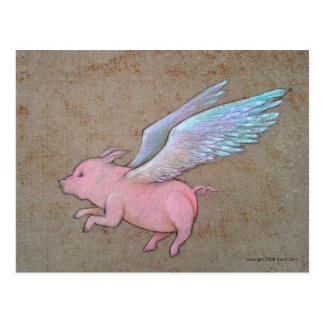 cerdo del vuelo tarjeta postal