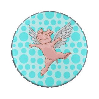 Cerdo del vuelo y lunares azules jarrones de caramelos