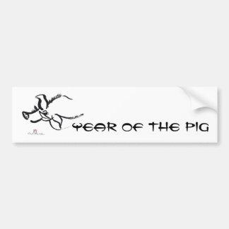 Cerdo del zodiaco, año del cerdo Sumi-e Pegatina Para Auto