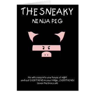 Cerdo disimulado de Ninja Tarjeta De Felicitación