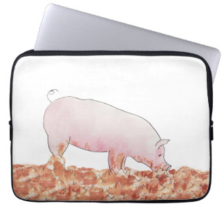 Cerdo divertido en manga del ordenador portátil fundas portátiles