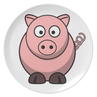 Cerdo divertido lindo plato de cena