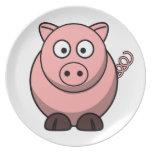 Cerdo divertido lindo plato de comida