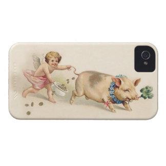 Cerdo divertido lindo y ángel del vintage que corr iPhone 4 coberturas