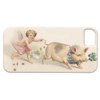 Cerdo divertido lindo y ángel del vintage que iPhone 5 fundas
