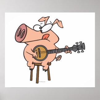 cerdo divertido que juega un personaje de dibujos  póster