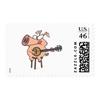 cerdo divertido que juega un personaje de dibujos  sellos