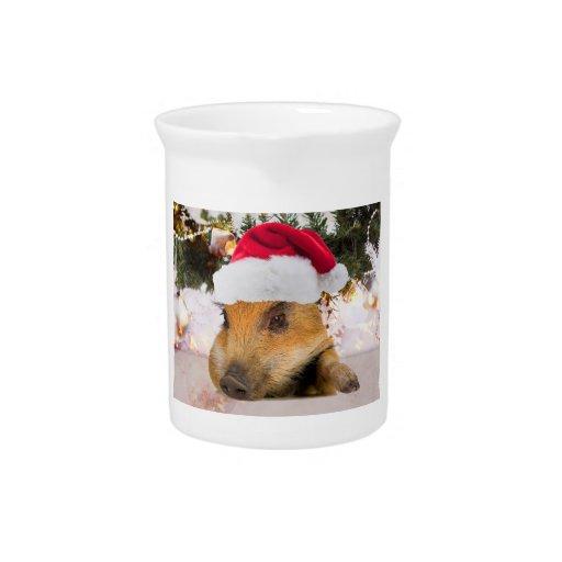 Cerdo dulce en árbol de navidad del gorra de Santa Jarrones