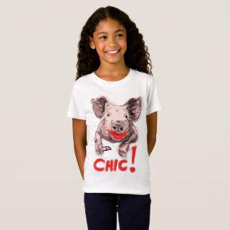 Cerdo elegante - chicas playera