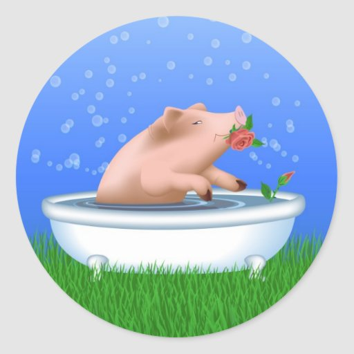 Cerdo en bañera pegatina redonda