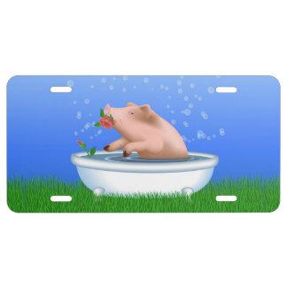 Cerdo en bañera placa de matrícula