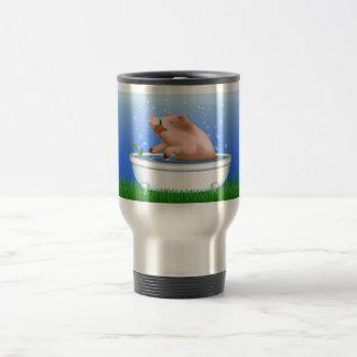 Cerdo en bañera taza de viaje