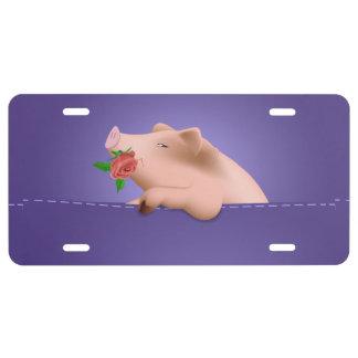 Cerdo en bolsillo placa de matrícula