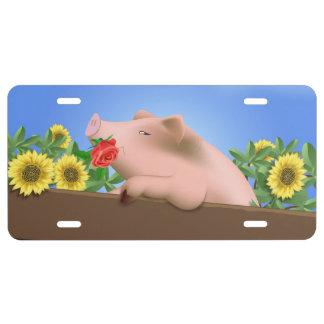 Cerdo en cacerola placa de matrícula
