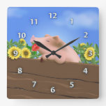 Cerdo en cacerola reloj de pared