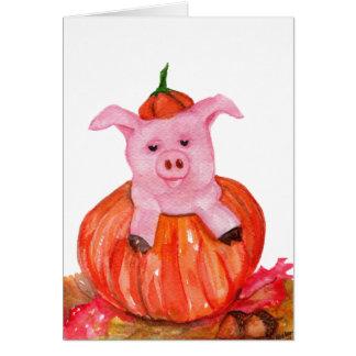 Cerdo en calabaza tarjeta de felicitación