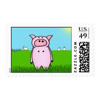 Cerdo en el campo sello