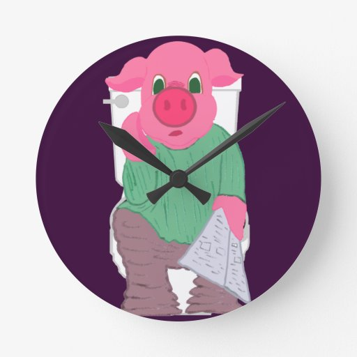 Cerdo en el reloj del retrete