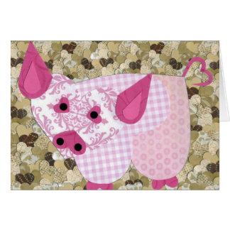 Cerdo en fango tarjeta de felicitación