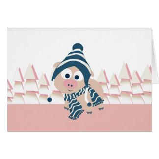 Cerdo en invierno tarjeta pequeña