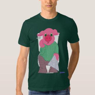 Cerdo en la camiseta del retrete poleras