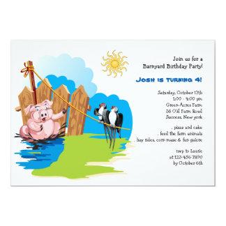 Cerdo en la invitación del cumpleaños del corral invitación 12,7 x 17,8 cm