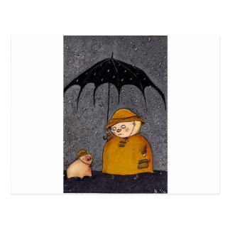 cerdo en la lluvia tarjetas postales
