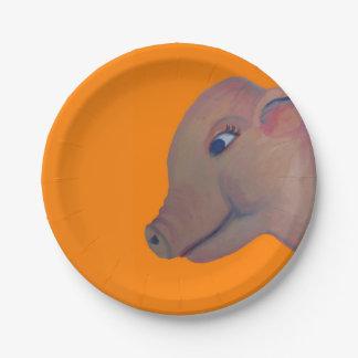 cerdo en la placa de papel anaranjada platos de papel