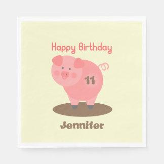 Cerdo en las servilletas del cumpleaños del fango servilletas de papel
