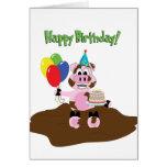 Cerdo en tarjeta de felicitación del cumpleaños de