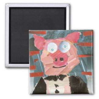 Cerdo en Tux Imán Cuadrado