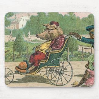 Cerdo en vintage de una silla de ruedas tapete de raton