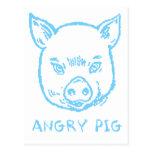 cerdo enojado tarjetas postales
