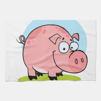 Cerdo feliz del carácter toalla de cocina