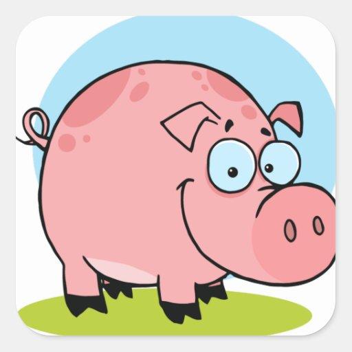 Cerdo feliz del carácter pegatina cuadrada