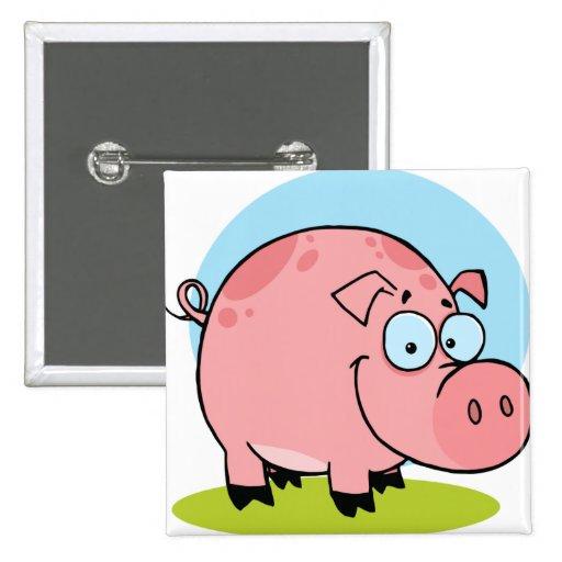 Cerdo feliz del carácter pin