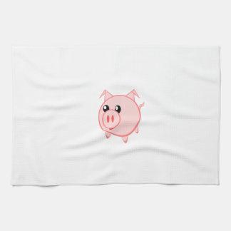 Cerdo feliz del dibujo animado toallas