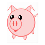 Cerdo feliz del dibujo animado postal