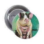 cerdo feliz en la pintura animal en colores pastel pin