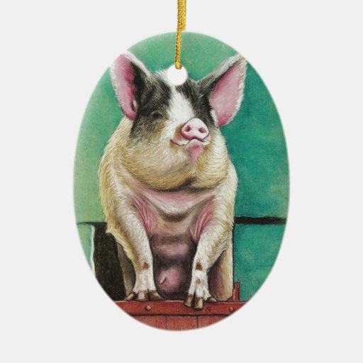 cerdo feliz en la pintura animal en colores pastel adorno navideño ovalado de cerámica