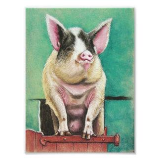 cerdo feliz en la pintura animal en colores pastel fotografía