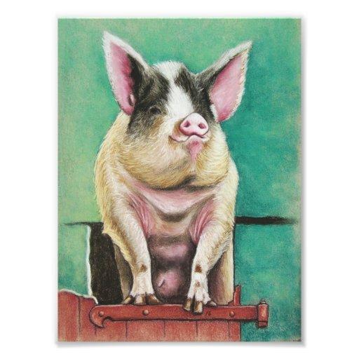 cerdo feliz en la pintura animal en colores pastel arte fotográfico
