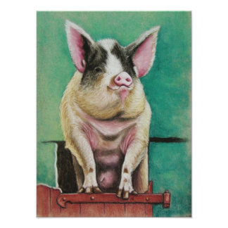 cerdo feliz en la pintura animal en colores pastel póster
