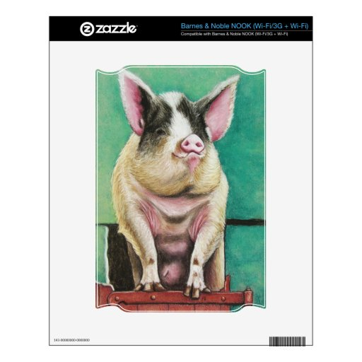 cerdo feliz en la pintura animal en colores pastel skins para NOOK