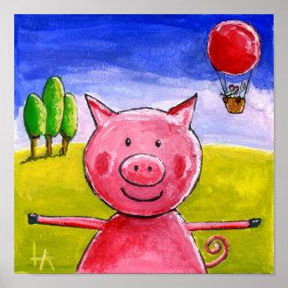 Cerdo feliz posters