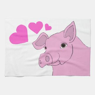 cerdo feliz toallas de cocina