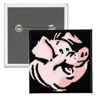 Cerdo feliz pin cuadrado
