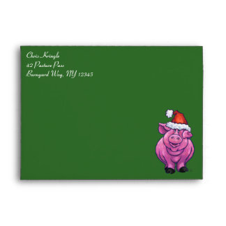Cerdo festivo en el gorra de Santa en verde Sobre