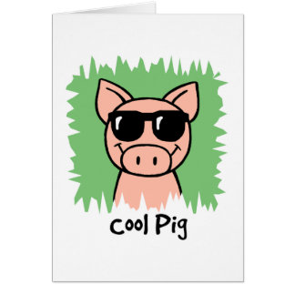 Cerdo fresco del clip art del dibujo animado con l tarjetón