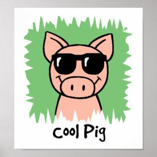 Cerdo fresco del clip art del dibujo animado con póster